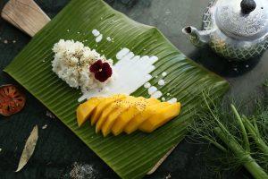 mangue et riz gluant plat thailandais